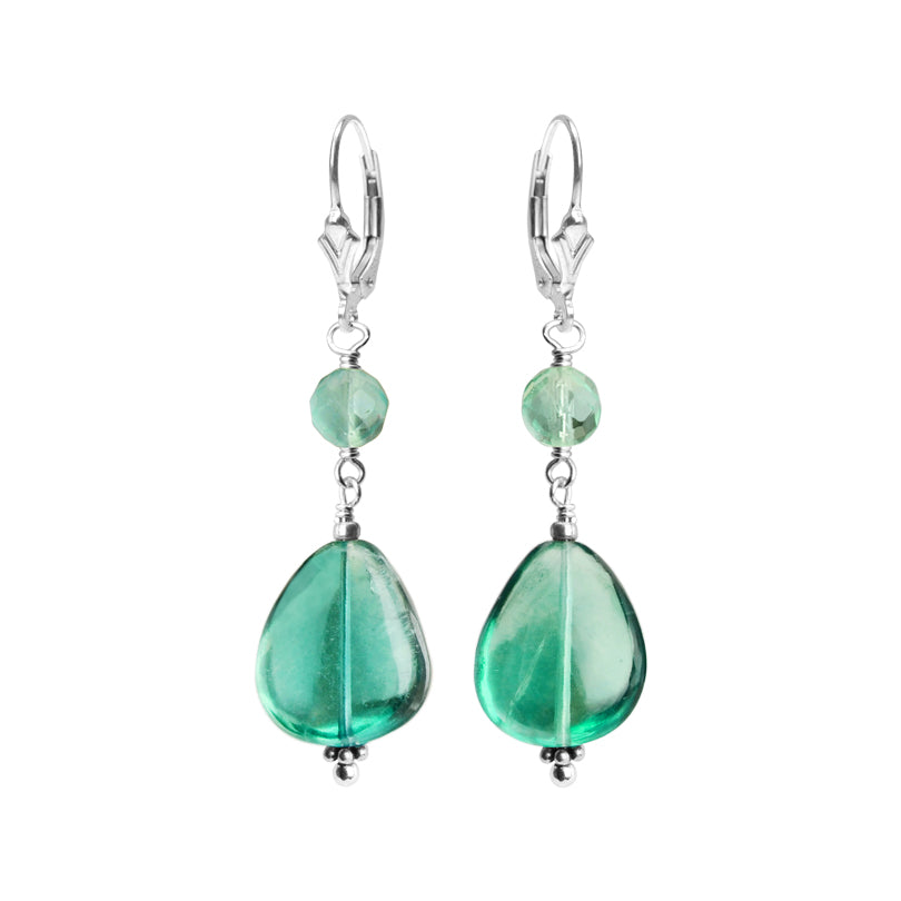 Gorgeous Color  Natural Fluorite Sterling Silver Earrings