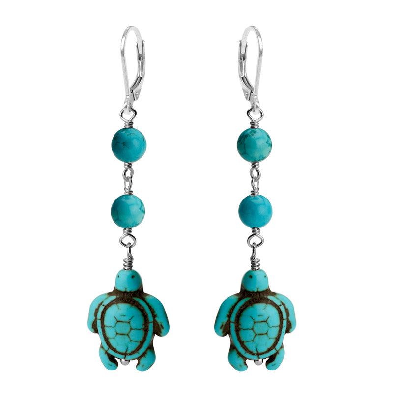 Adorable Turquoise Color Magnesite Sterling Silver Turtle Earrings