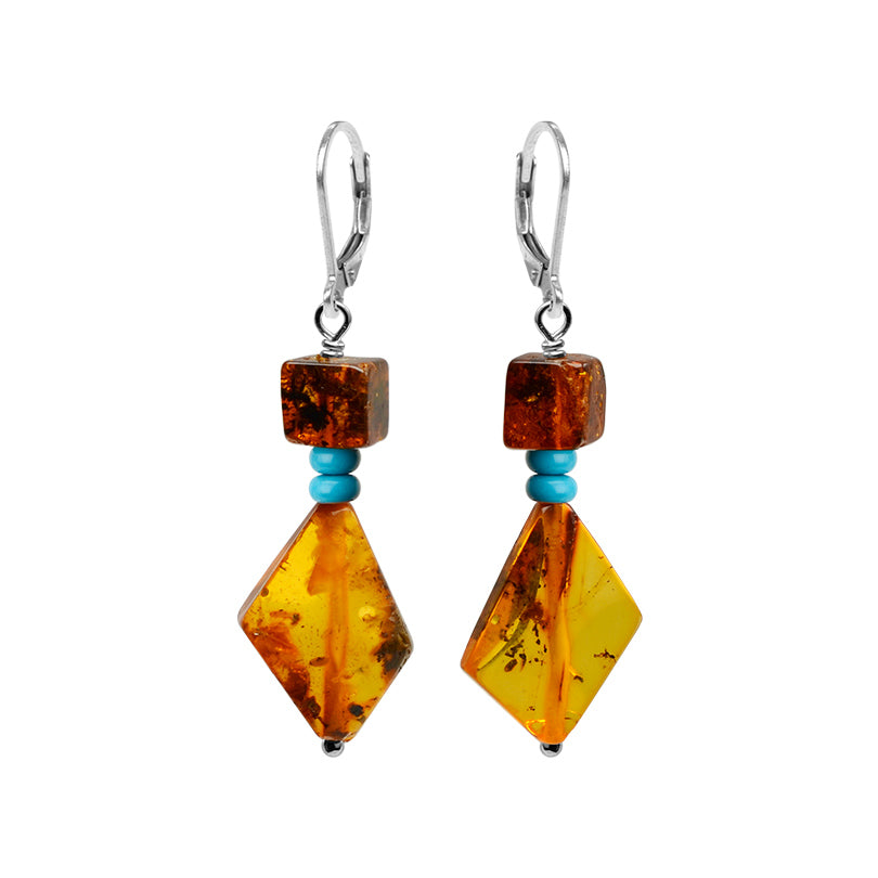 Flirty Cognac Baltic Amber and Magnesite-Turquoise Sterling Silver Earrings