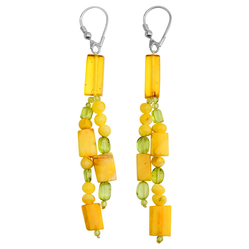 Lovely Polish Designer Butterscotch Baltic Amber and Peridot Sterling Silver Earrings