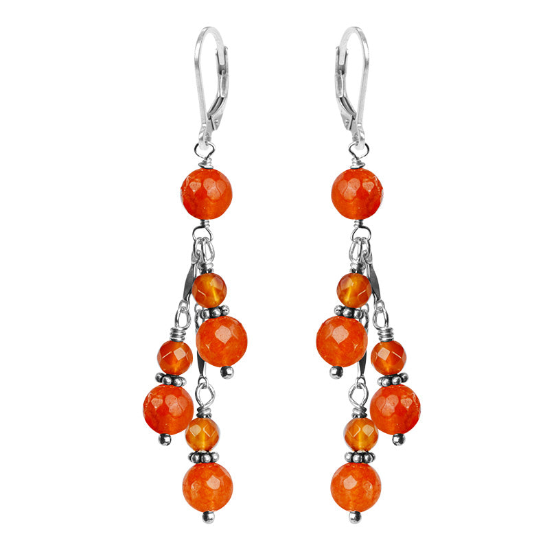Brilliant Faceted  Carnelian Orange Sterling Silver Earrings