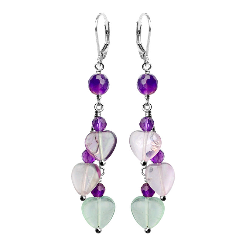 So Pretty! Amethyst And Fluorite Hearts Sterling Silver Valentine Earrings