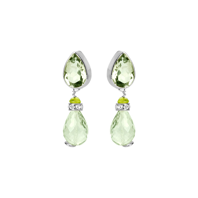 """Wow"" Gorgeous Green Amethyst With Peridot & Crystal Sterling Silver Statement Earrings"