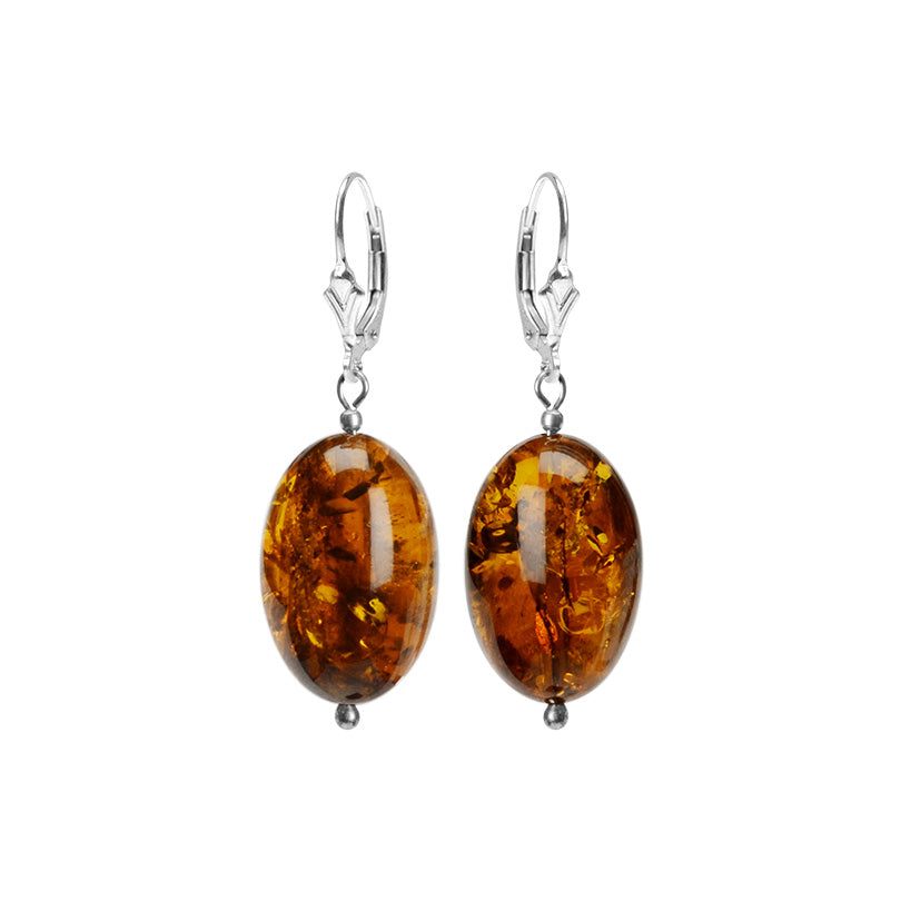 Elegant Cognac Baltic Amber Sterling Silver Earrings