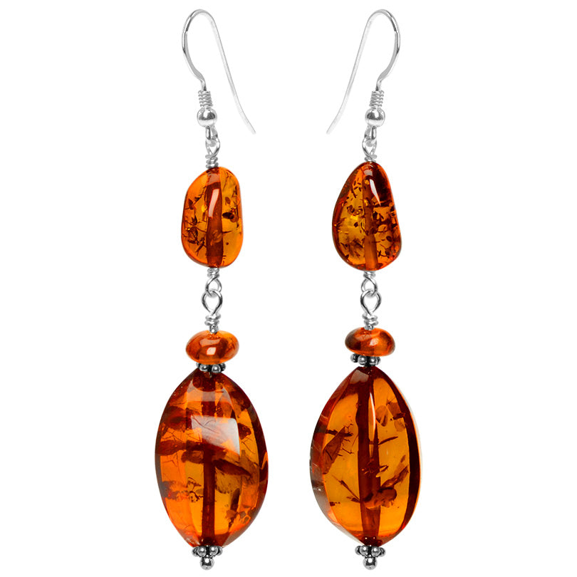Rich, Wave Cut Cognac Baltic Amber Sterling Silver Earrings