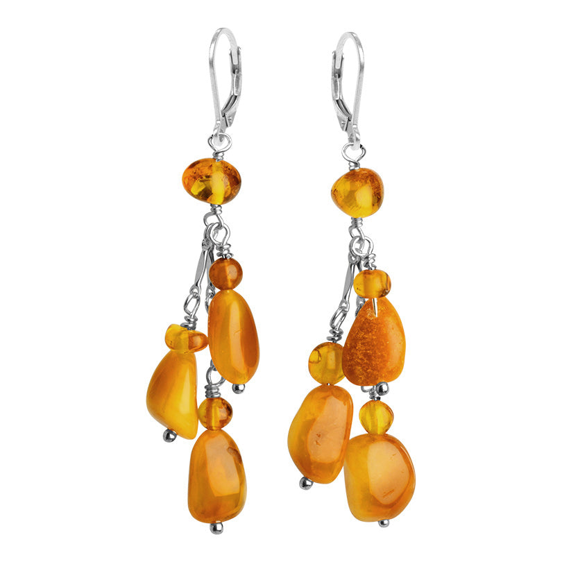Luxurious, Rich Colors Of Mixed Baltic Butterscotch Amber Sterling Silver Earrings