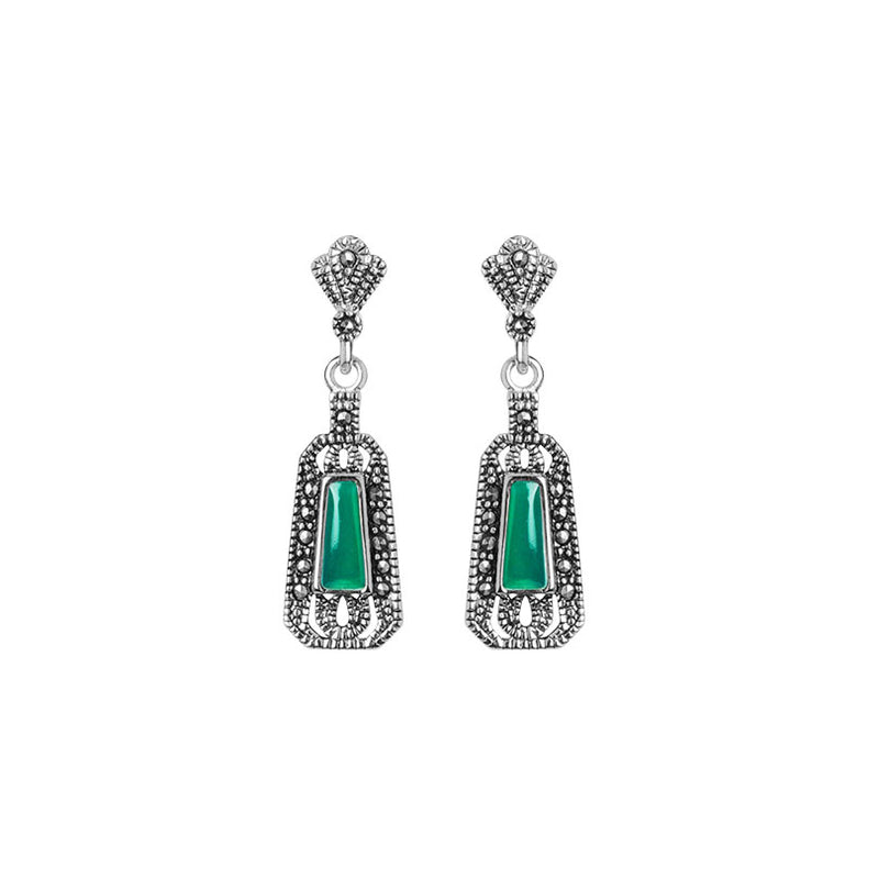 Petite La Reina Green Agate and Marcasite Sterling Silver Earrings