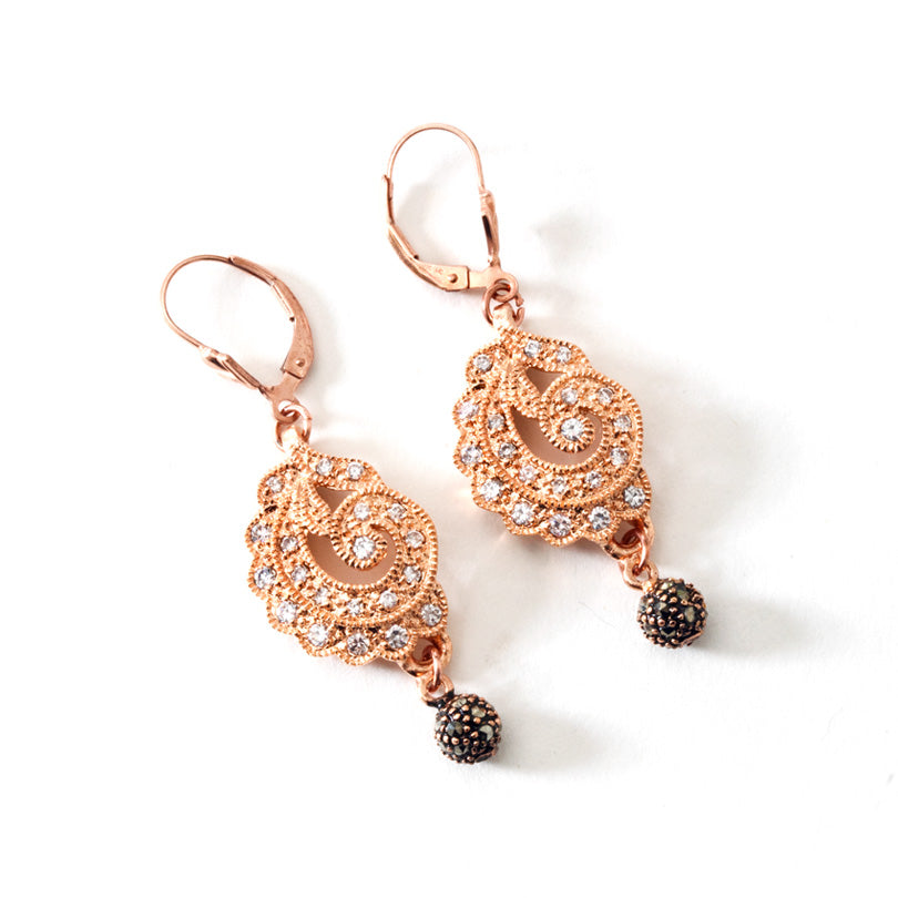 Dazzling 14kt Rose Gold Plated CZ Earrings with Golf Filled Lever-Back Hooks