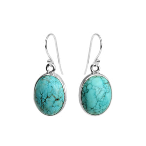 Aqua Blue Genuine Chunky Turquoise Sterling Silver Earrings