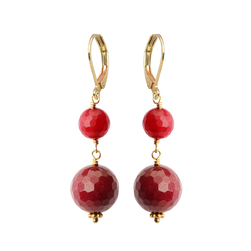 Flirty Faceted Cranberry Corundum Gold Filled Earrings