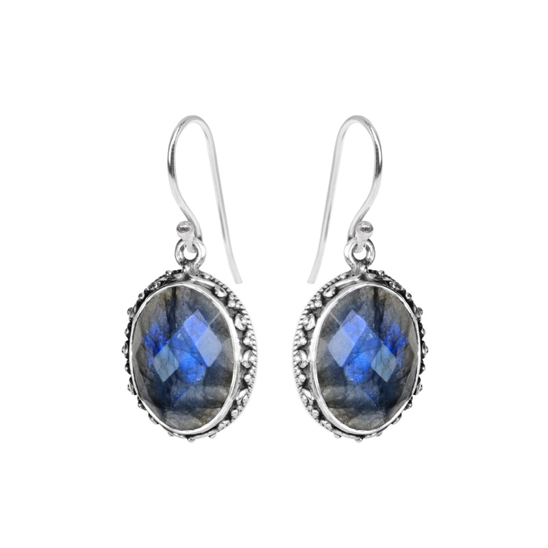 Faceted Shimmering Blue Labradorite Sterling Silver Earrings