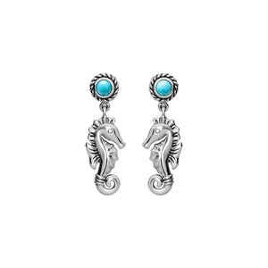 Adorable Larimar Seahorse Sterling Silver Earrings