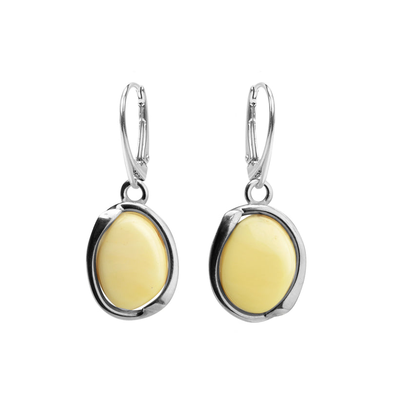 Lovely Modern Design Butterscotch Baltic Amber Sterling Silver Earrings