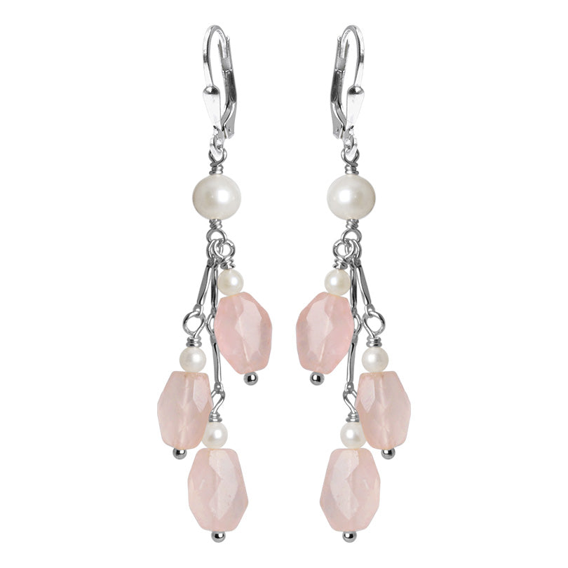 Romantic Petal Pink Rose Quartz And Lustrous Fresh Water Pearl Sterling Silver Earrings