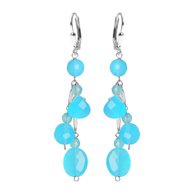 Gorgeous Sky Blue Blue Jade Sterling Silver Earrings