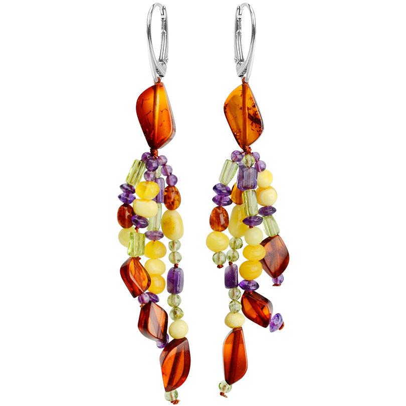 Gorgeous Baltic Amber with Peridot and Amethyst Sterling Silver Earrings