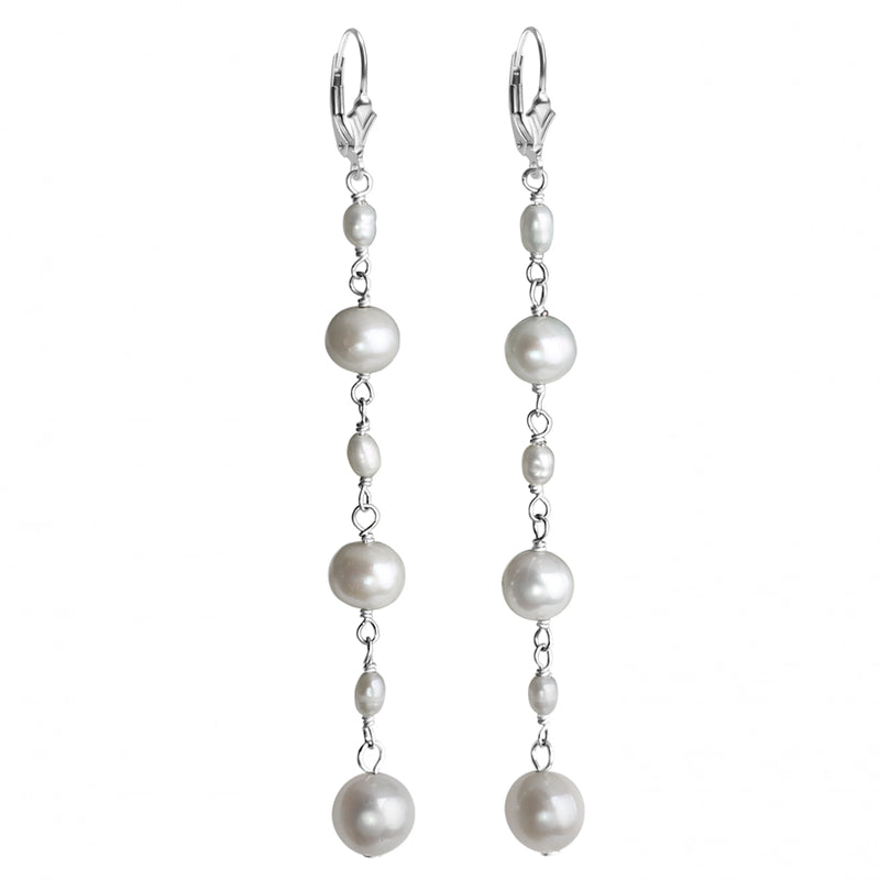 White Fresh Water Pearl Sterling Silver Earrings