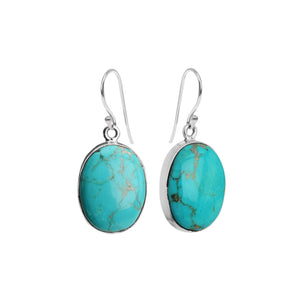 Gorgeous Arizona Turquoise Sterling Silver Oval Earrings