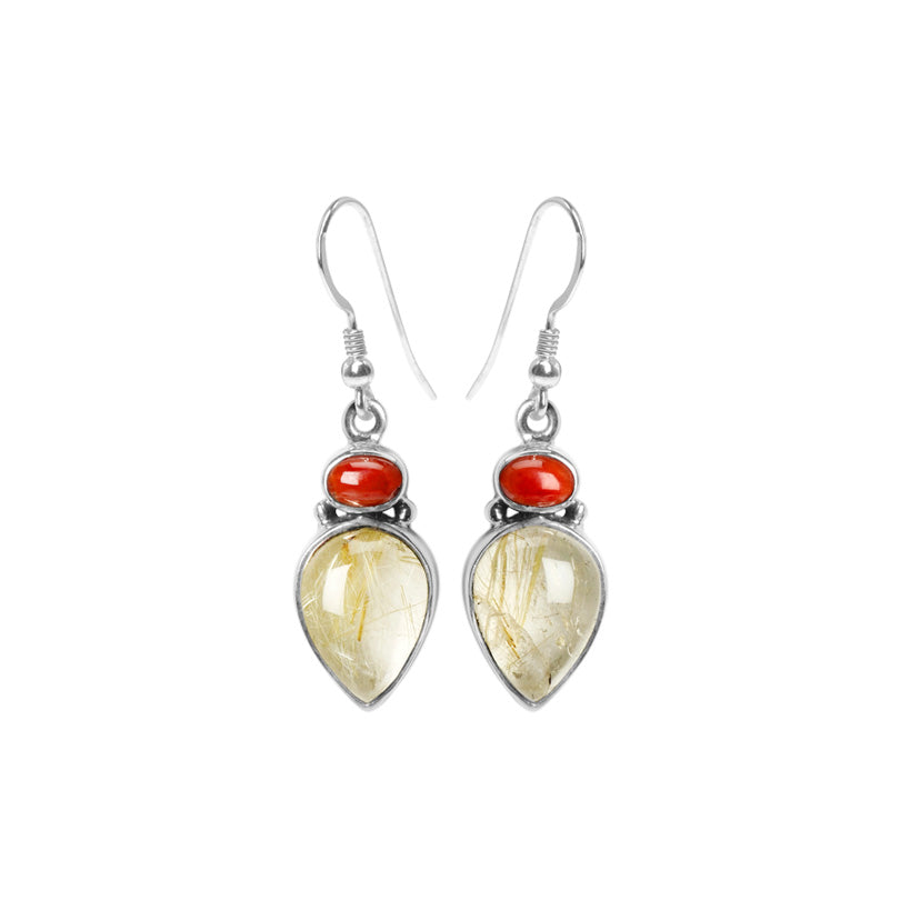 Shimmering Gold Rutilated Quartz & Rich Red Coral Sterling Silver Earrings.