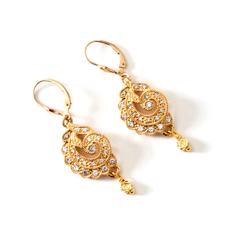 Dazzling 14kt Gold Plated CZ Earrings with Golf Filled Lever-Back Hooks
