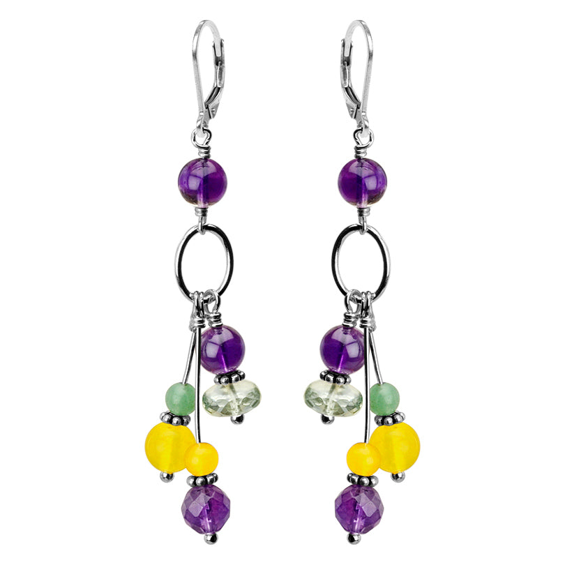 Amazingly Adorable Amethyst and Green Amethyst Sterling Silver Earrings