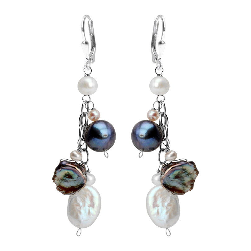 Stunning Different Shapes & Colors of  Fresh Water Pearl Sterling Silver Earrings
