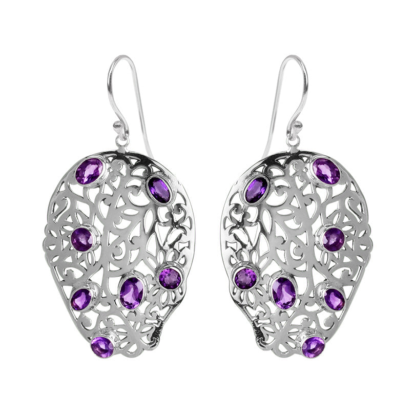 Bold, Sparkling Amethyst Sterling Silver Statement Earrings