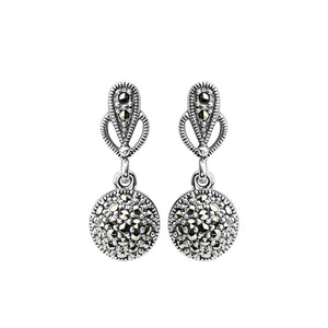 Elegant Marcasite Sparking Ball Sterling Silver Earrings