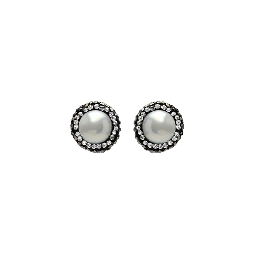 Small Fresh Water Pearl With Hematite and Crystal Stud Earrings