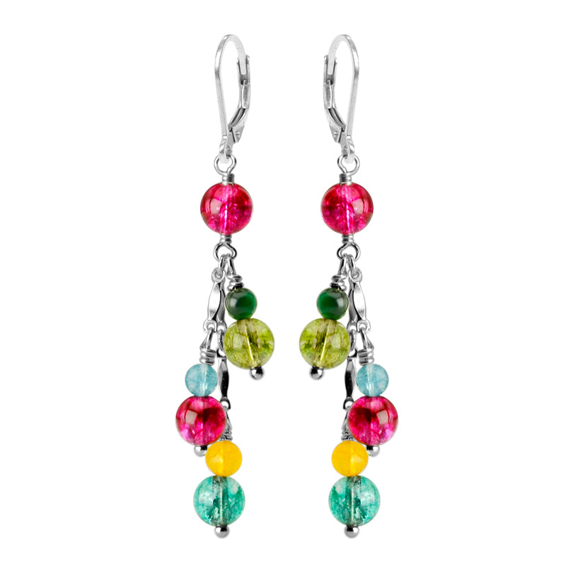 Vibrant Tourmaline Colored Glass Sterling Silver Earrings