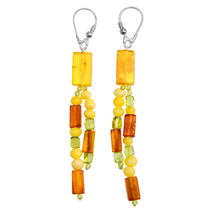 Beautiful Polish Designer Baltic Amber and Peridot Sterling Silver Earrings