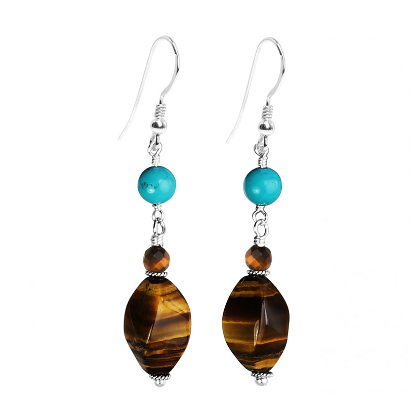 Lovely Tiger's Eye and Turquoise Sterling Silver Earrings