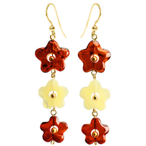 So Pretty Carved Baltic Amber Gold Filled Flower Earrings