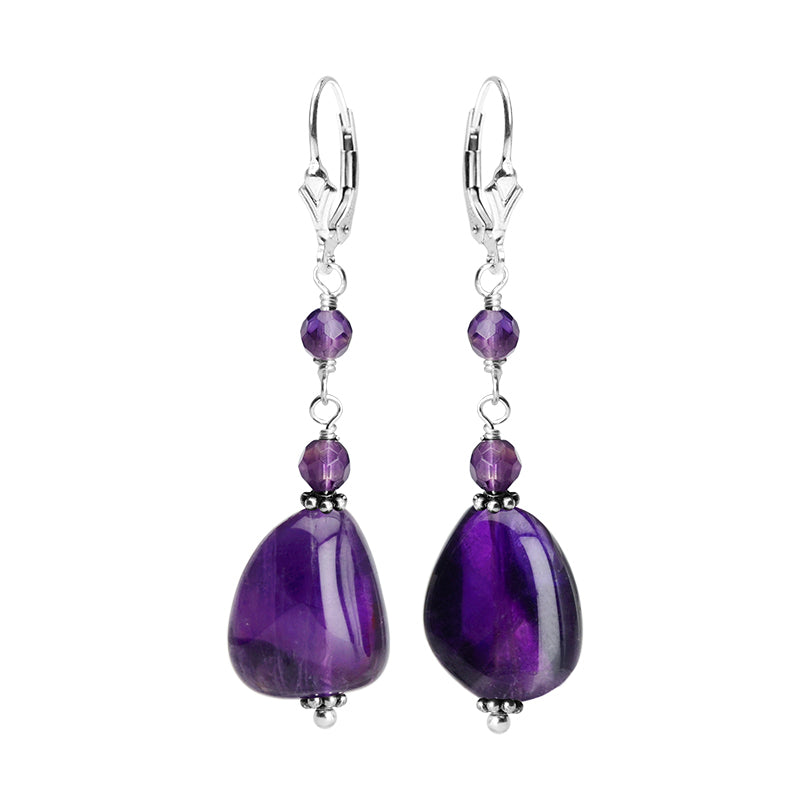 Lovely Smooth Amethyst Sterling Silver Earrings