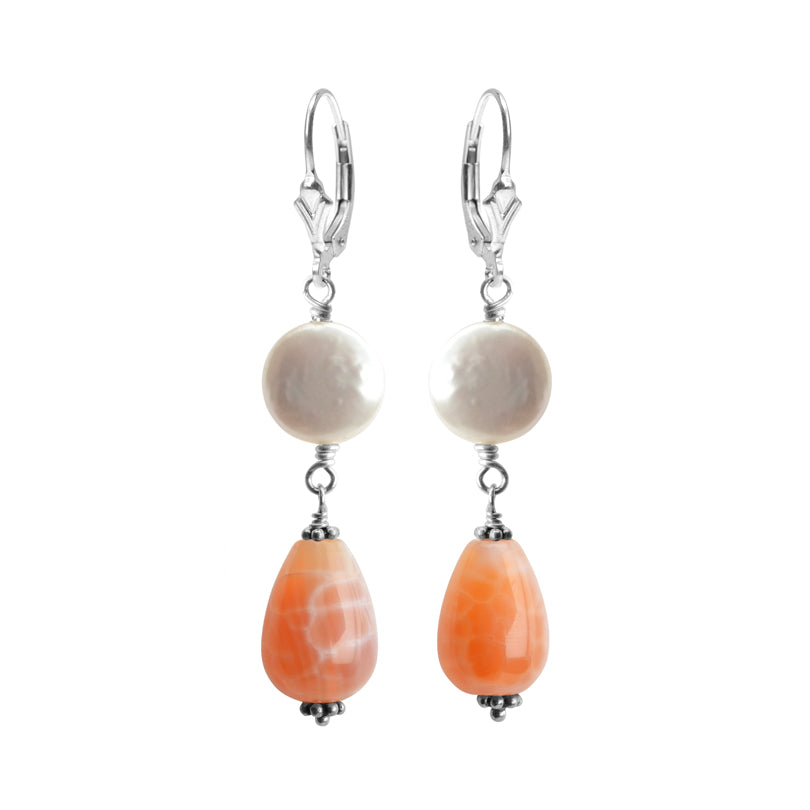 Pastel Sedona Agate and White Coin Pearl Sterling Silver Earrings