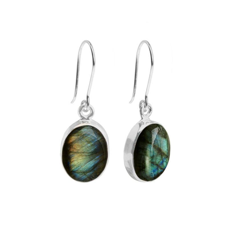 Beautiful Shimmering Labradorite Oval Sterling Silver Earrings