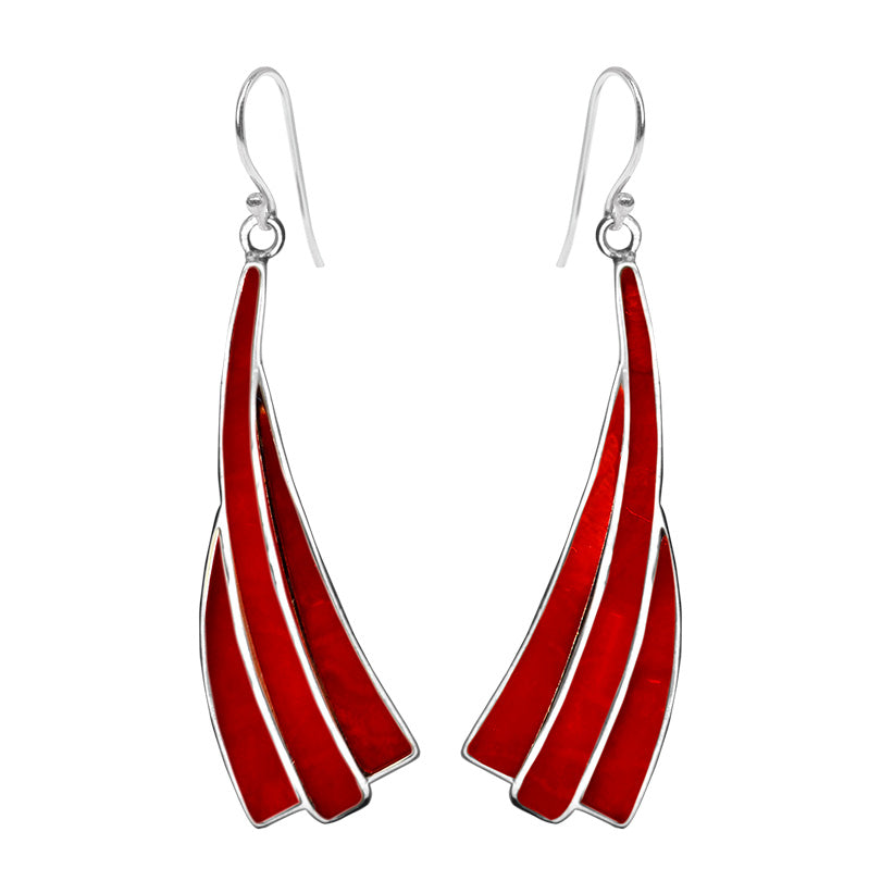 Gorgeous Coral Sterling Silver Statement Earrings