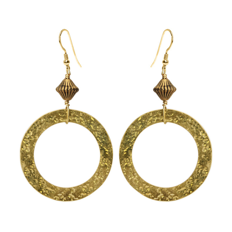 Sophisticated Hammered Brass Earrings with Gold Filled Hooks