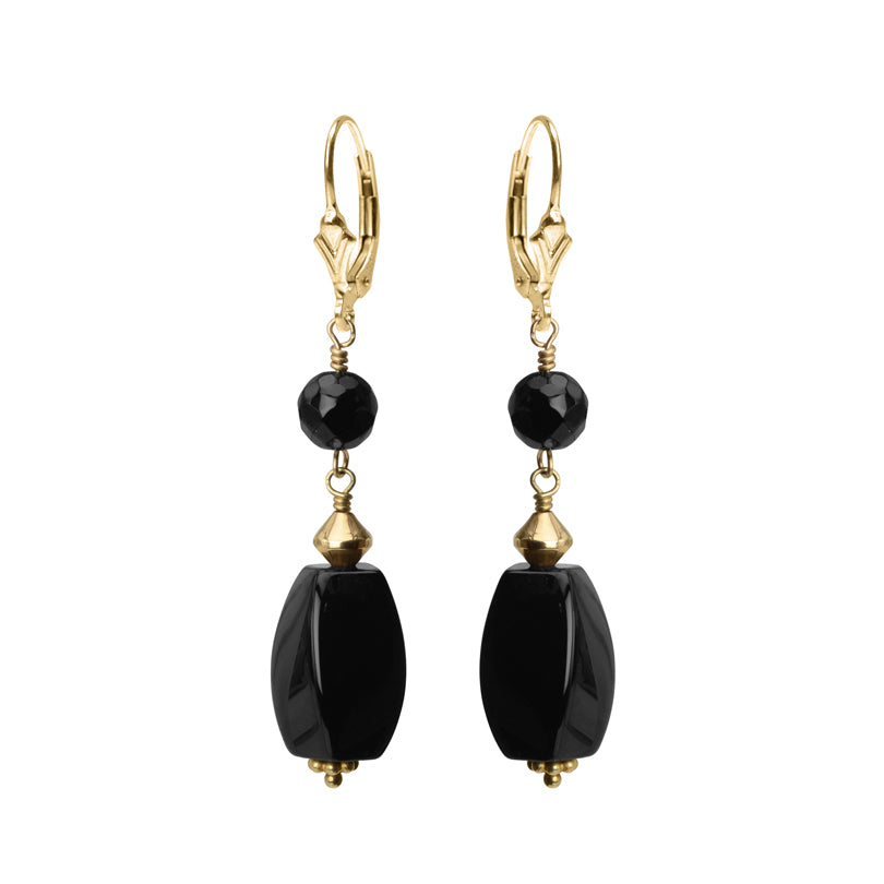 Golden Black Onyx with Gold Filled Lever-Back Hook Earrings