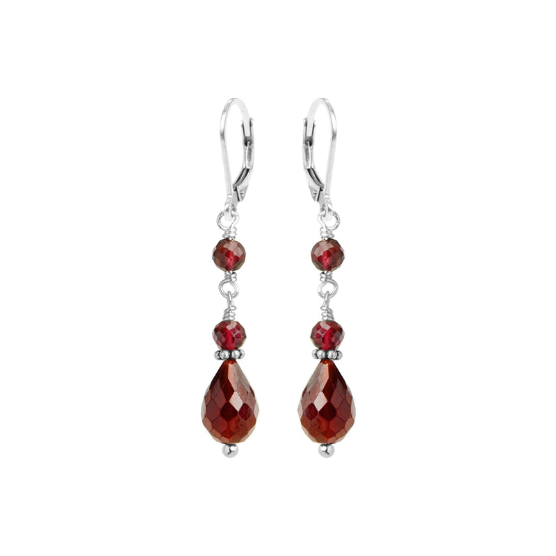 Darling Faceted Garnet Sterling Silver Earrings