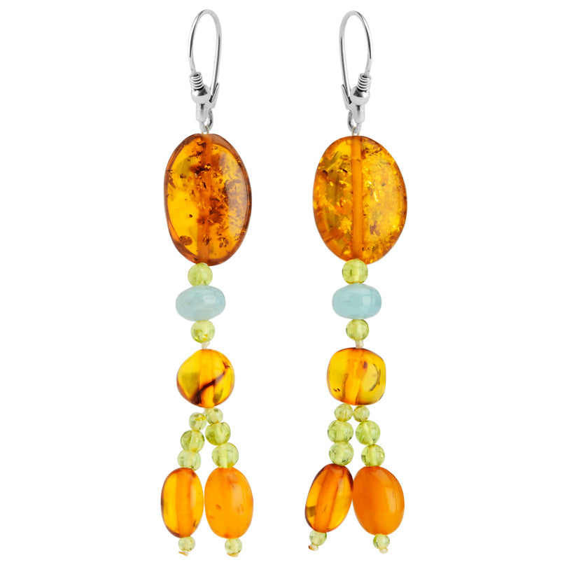 Polish Designer Cognac Baltic Amber & Aquamarine & Peridot Sterling Silver Statement Earrings