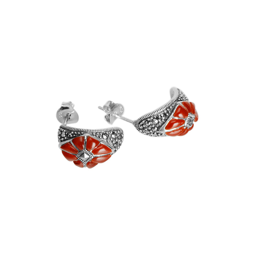 Darling Red Carnelian With Marcasite Vintage Inspired Sterling Silver Earrings