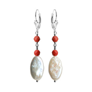 Graceful Fresh Water Pearl and Coral Sterling Silver Earrings