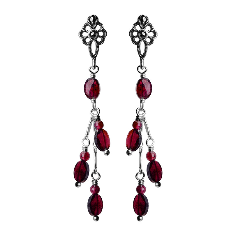 Royal Red Garnet and Marcasite Sterling Silver Earrings