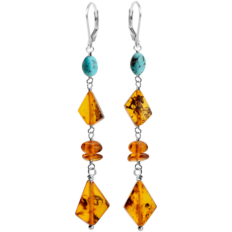 Brilliant Cognac Baltic Amber and Turquoise Sterling Silver Earrings