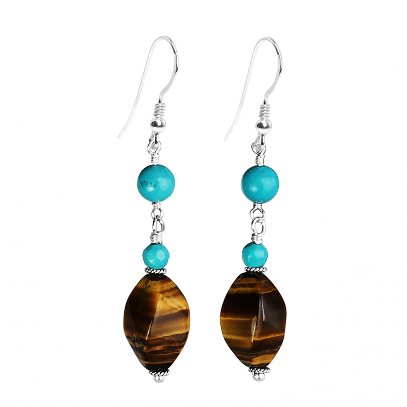 Enchanting Color Combination Tiger's Eye and Turquoise Sterling Silver Earrings