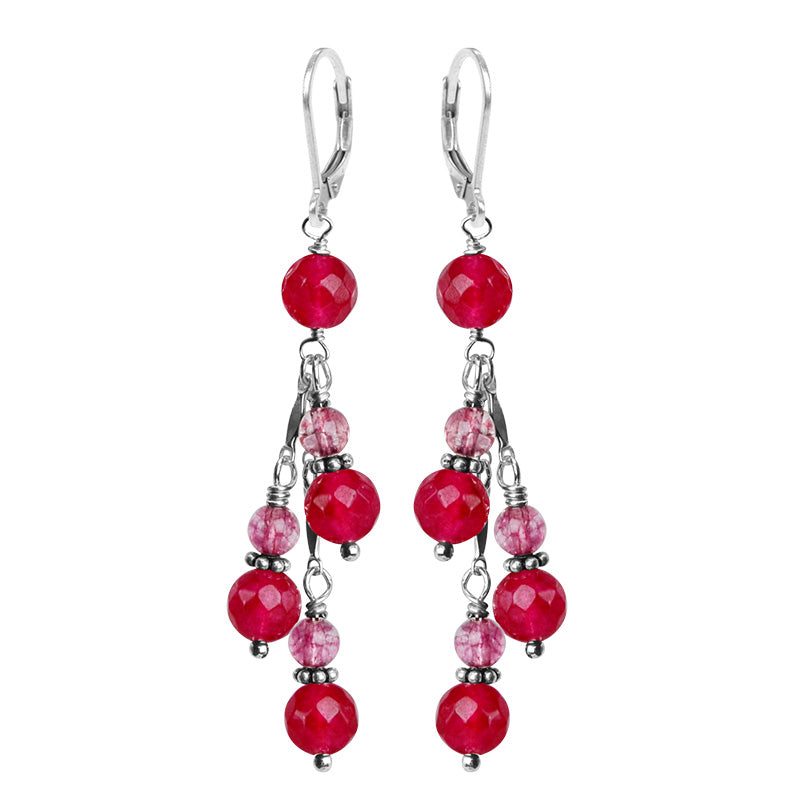 Beautiful Ruby Color Jade Stones Sterling Silver Earrings
