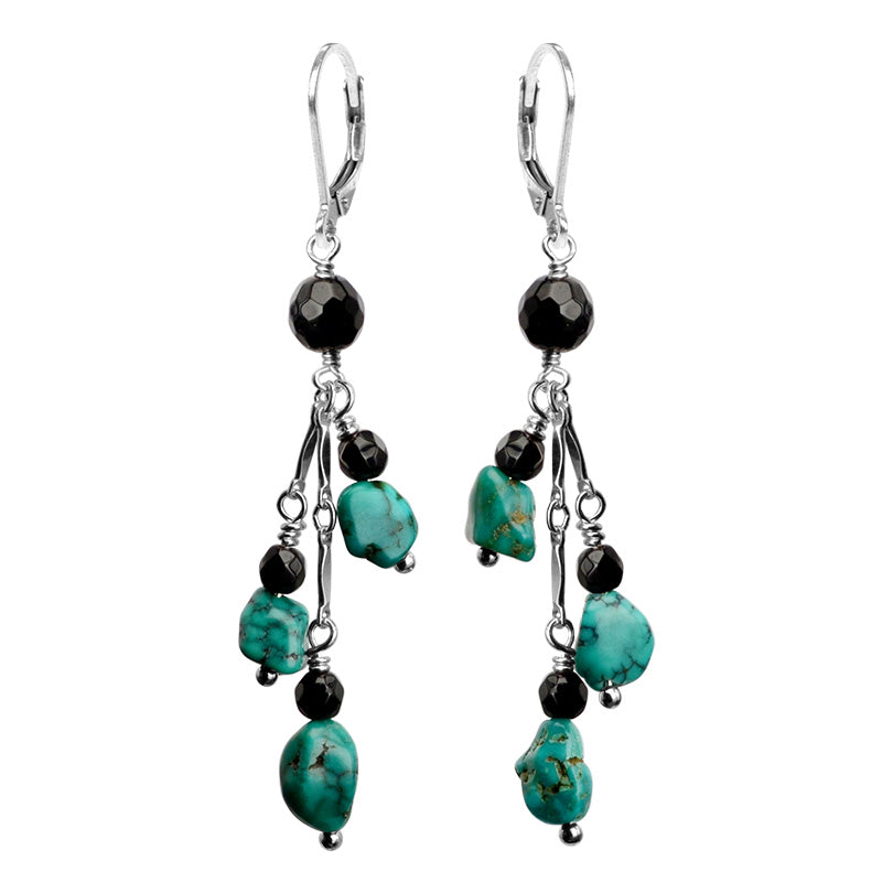 Natural Turquoise and Onyx Sterling Silver Earrings
