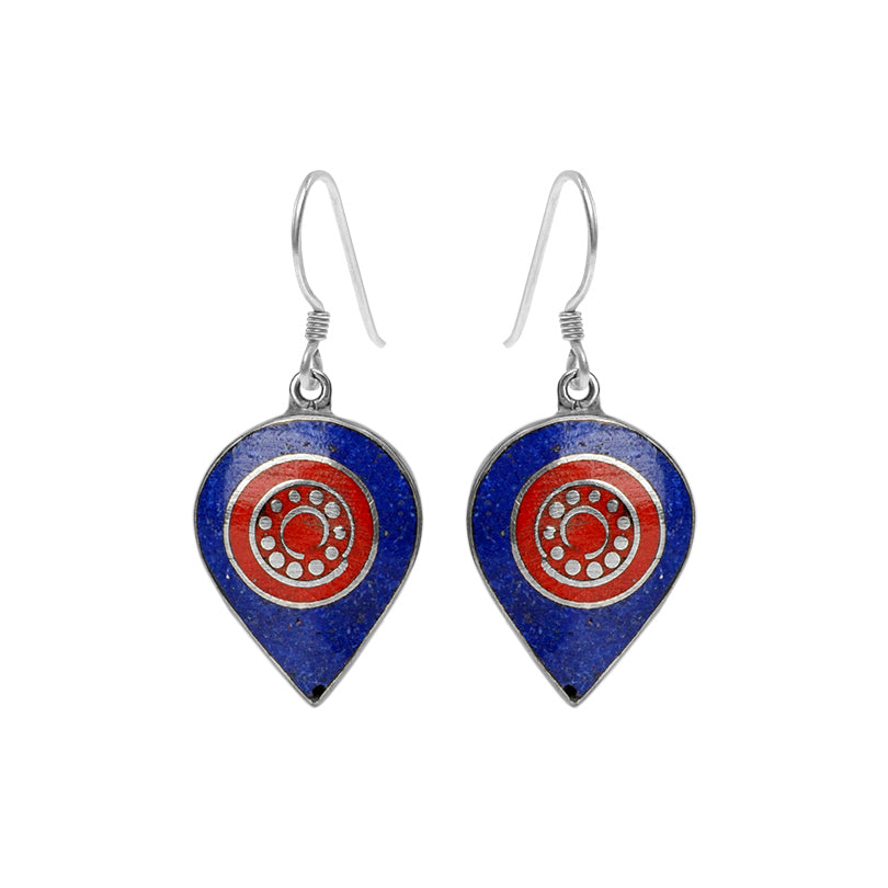 Himalayan Coral and Lapis Silver Plated Nepal Earrings
