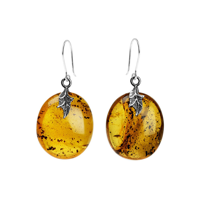 Lovely Golden Baltic Amber Sterling Silver Earrings